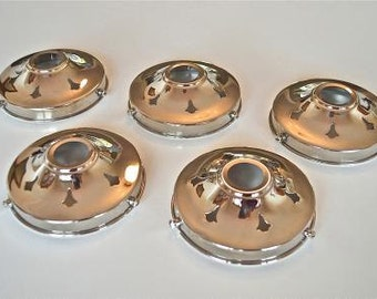 A set of 5 classic antique style chrome glass light shade gallery 4 1/4 inch lamp shade Art Deco NR9