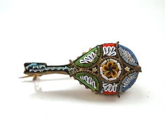 A beautiful hand made antique Italian micro-mosaic mandolin brooch G4