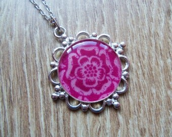 Tudor rose fabric necklace, resin pendant, vintage style