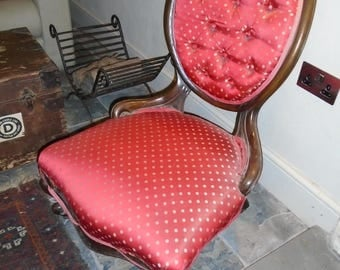 Antique Button back carved show frame salon chair with cabriole legs