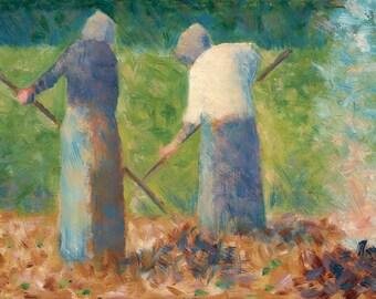 Georges Seurat: Haymakers at Montfermeil. Fine Art Print/Poster. (004042)