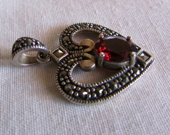 Sterling Silver Garnet and Marcasite Heart Pendant