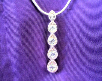 Clear Crystal Teardrop Necklace Last Chance, Rhinestone Teardrop Necklace, Crystal Drop Necklace,
