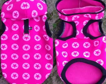 Softshell Hoodie Pink star for dogs