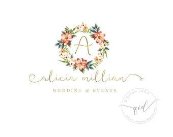 Premade wedding events logo, Floral and gold calligraphy logo, Business branding, Event Planner, Custom Boutique Logo Design, Florist