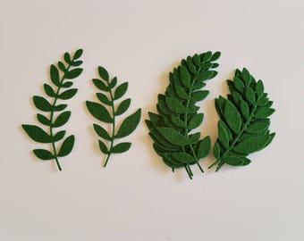 Self-Adhesive Die Cut Ferns in Felt