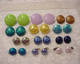 12 Pair Vintage Button Style EARRINGS Various Colors and Sizes ~ Clip Ons
