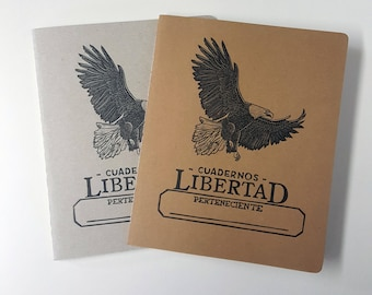 "Vintage Looking ""Cuadernos Libertad"" Hand-Printed, Hand-Stitched Cahier Style Notebook"