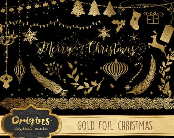 70% OFF Gold Foil Christmas clipart, gold Christmas clip art, ornaments, string lights, snowflakes, png digital instant download graphics