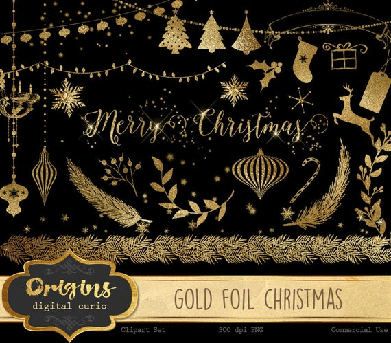 Gold Foil Christmas Clipart Clip Art Ornaments String Lights Snowflakes Png Digital Instant Download Graphics From DigitalCurio On Etsy