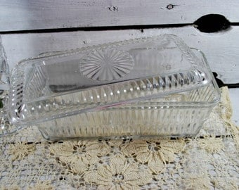 Refrigerator Clear Glass Container with Lid by Federal Glass , Friggies Set
