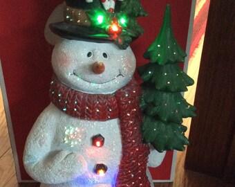 Fiber Optic &LED Snowman 18 Inches