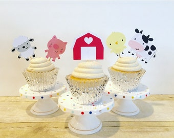 Farm Animal Cupcake Toppers / Barnyard Party / Set of 12