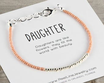 Daughter Bracelet in Silver & Glass Seed Beads, Message Bracelet, Simple Bracelet, Daughter Gift, Father Daughter Gift, Mother Daughter Gift