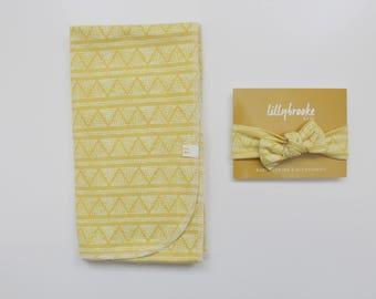 Dark Yellow Swaddle Blanket / Yellow Swaddle Blanket / Receiving Blanket / Swaddle Blanket / Aztec Swaddle Blanket / New Baby Gift