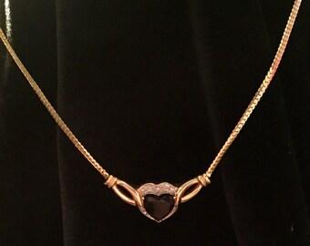 14k Onyx Heart Pendant
