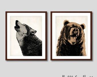Woodland animals prints, woodland print, boys decor, adventure, boys decor, woodland art, bear print, wolf art, bear art, woodland art