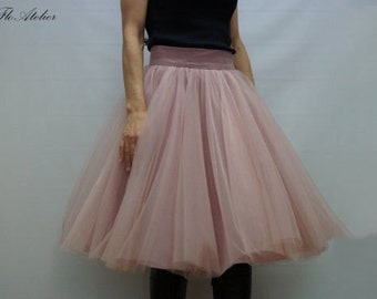 Women Tulle Skirt/Tutu Skirt/Princess Skirt/Skirt/Short Skirt/Ballet Skirt/Ballet Skirt/Misty Rose Skirt by FloAtelier/F1246