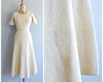Fils d'Or dress • 1940s knit dress