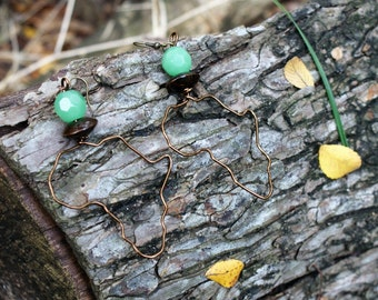 Africa Earrings- Wood and Mint