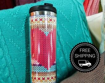 Travel mug The heart ( travel cup, thermocup, thermomug, Personalized Tumbler, Travel Coffee Mug, travel mug, Tumbler, Funny travel mug)