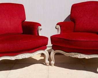 Pair of Vintage French Louis XV Bergere Armchairs inc Reupholstery (exc. fabric)