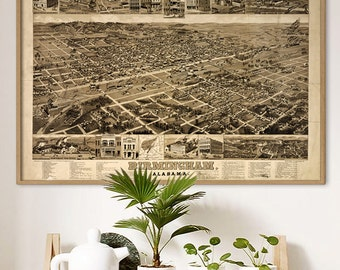 "Map of Birmingham AL 1885, Vintage Birmingham AL map up to 54x36"" XL bird's eye view, map poster, also in blue - Limited Edition - Print 1"