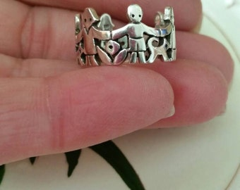 Vintage Retired James Avery Silver Paper Doll Children Ring with Gift Box 3 sizes Available See Product Description