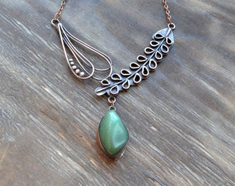 Green copper floral necklace, metalsmith tender boho jewelry, spring leaves
