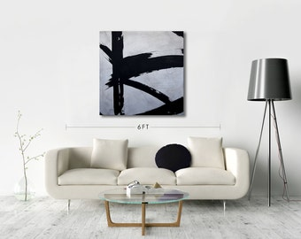 ORIGINAL Black and White Modern Art Abstract Painting Wall Decor Recycled Art Mixed Media Acrylic Painting on Sailcloth 38 x 38