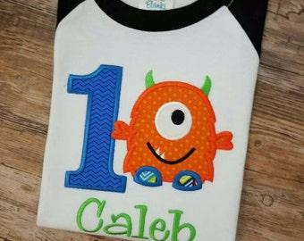 Birthday Embroidered Monster Birthday Shirt.  Monster 1st Birthday 3/4 Raglan Sleeve Baseball Shirt.