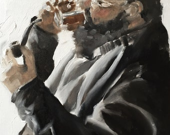 Man with Drink and Pipe - Art Print  - from original painting by J Coates