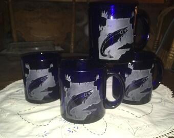 4 Vintage Cobalt Salmon Etched Mugs