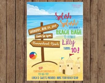 Beach Birthday Party Invitation, Beach Party Invite, Sandcastle Invite, Beach Bash Birthday Party, Beach Theme Birthday Party, Printable