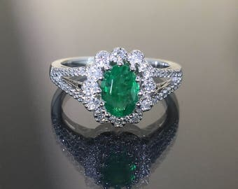 14k White Gold Natural Colombian Emerald & Diamond HALO cluster ring 1.45ctw