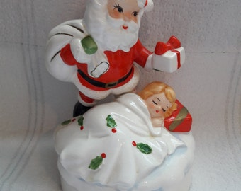 "MINT Lefton Christmas Music Box - Santa Looking Over Sleeping Child - Plays ""White Christmas"""