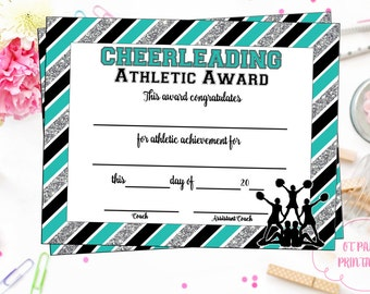 INSTANT DOWNLOAD - Cheerleading Certificate - Cheerleading Award - Cheerleading Printable - Cheerleading Achievement - End of Season Award