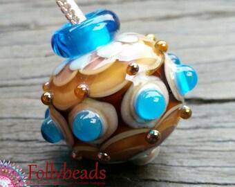 Handmade Lampwork Glass bead keyring, Bag charm