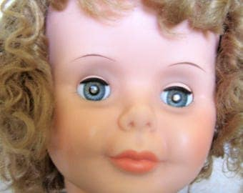 Vintage Unmarked Vinyl PlayPal Head (only) Curly Dark Blonde Hair
