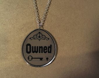 BDSM OWNED  laser cut mirrored acrylic pendant swinger lifestyle necklace