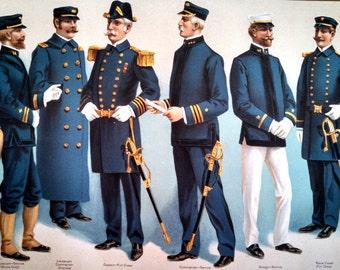 1899 U.S. Navy officers' uniforms , antique Werner chromolithograph