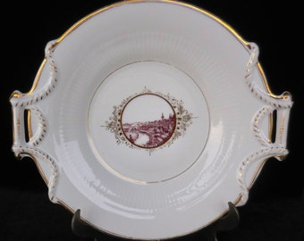 KPM Porcelain Handled Cake Plate with Wimpfen Germany Decoration, circa 1890s