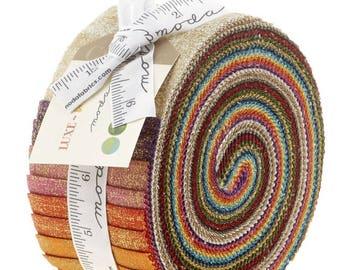 Luxe Brushstroke Metallic Jelly Roll by Moda Fabrics for Moda Fabrics