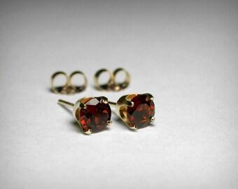 14K Genuine Garnet Earrings Studs, Genuine AAA Garnet Stud Earrings, 14K White  14K Yellow Gold, Garnet Jewelry, January Birthstone, Earring