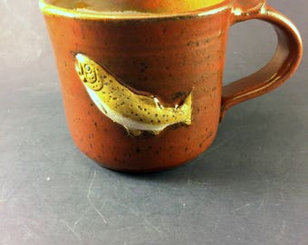 Brown Trout Mug with Iron Red Glaze