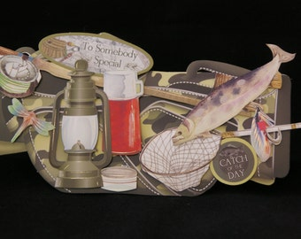 3d Decoupage Shaped Fishing Bag Birthday Card - Handcrafted in UK