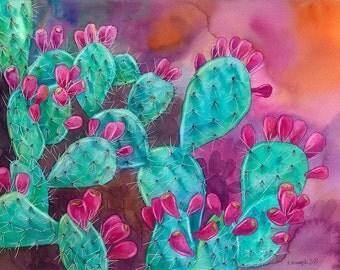 Psychedelic Opuntia, ORIGINAL watercolor painting, cactus painting, watercolor flower, watercolor art, opuntia, esperoart