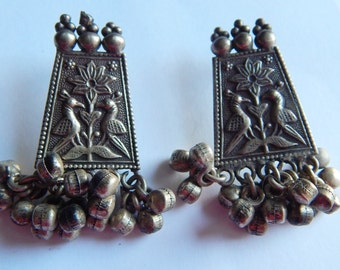 Large SILVER Asian Indian Bird floral chiming bead earrings