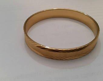 Vintage Monet Gold Bracelet Etched Bangle Costume