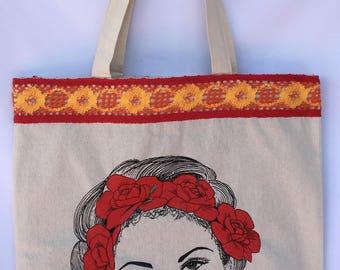 Selena Tote Bag. Selena with Flowers Hand Bag. Selena Hand Painted Shoulder Bag. Gift Friendly .